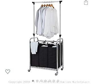 Finnhomy - 3-Bag Rolling Laundry Sorter with Hanging Bar