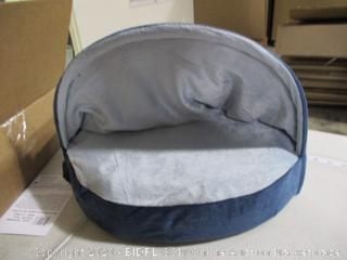 """FurHaven- Snuggery Burrow Bed- Round- 18""""- Navy"""