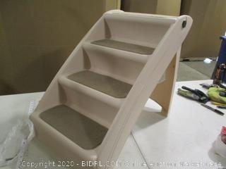 Folding Plastic Pet Stairs (Cracked, See Pictures)