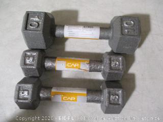 Cap- Cast Iron Dumbells( 1 10LB & 2 5LB)