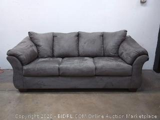 SIGNATURE DESIGN BY ASHLEY - Audry Sofa Grey Suede (Retail $1,000)