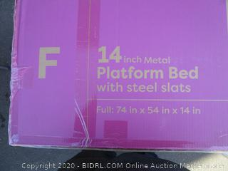"14"" Metal Platform Bed w/ Steel Slats Size Full (Please Preview) (Box Damage)"