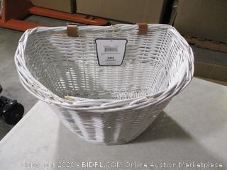 Colorbasket- Adult D Shape White Wicker Bike Basket w/ Brown Leather Belt