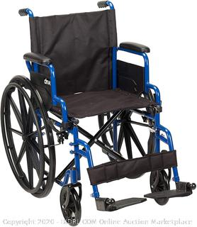 Drive Medical Blue Streak Wheelchair with Flip Back Desk Arms, Swing Away Footrests, 18 Inch Seat (online $102)