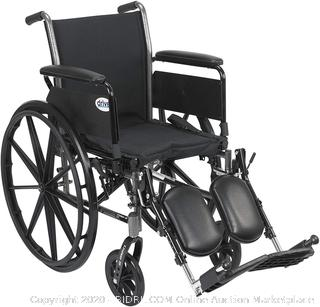 Drive Medical Cruiser III Light Weight Wheelchair with Various Flip Back Arm Styles and Front Rigging Options, Flip Back Removable Full Arms/Elevating Leg Rests, Black, 20 Inch (online $167)