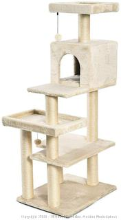 Extra Large Cat Tree Tower with Condo - 24 x 56 x 19 Inches, Beige (Factory Sealed) online $85
