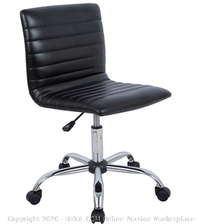 Modern Adjustable Low Back Armless Ribbed Task Desk Chair, Black, (Online $82) )BIFMA Certified