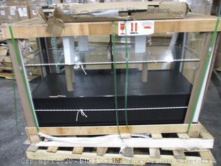 Displays2go 60 Inch Glass Showcase, Hidden Storage, LED Lights, Lockable Sliding Door - Black