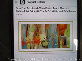 """Casa Fine Arts Beach Wood Spice Tones Abstract Archival Art Print 44.5""""x24.5"""" White and Gold Frame"""