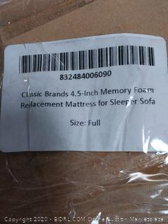 Classic Brands full size 4.5-Inch Memory Foam Replacement Mattress( Retails $156)