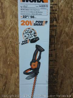 "WORX 20V Power Share Cordless 22"" Hedge Trimmer(Retails $100)(Powers On)"