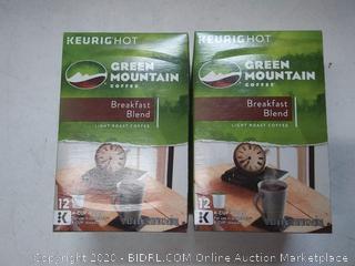 24 Green Mountain Coffee breakfast Blend K Cups