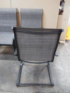 metal black patio furniture with gas fire pit(fire pit missing door)
