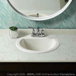 AquaSource White Drop-In Round Bathroom Sink with Overflow Drain Model #0289798