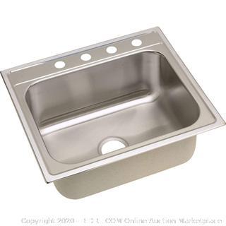 Elkay 25-in x 22-in Satin Single Bowl Drop-In 4-Hole Residential sink(Retails $263)