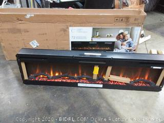 "Sierra 72"" Wall/Built-in Linear Electric Fireplace in Black (powers on) - Online $572"