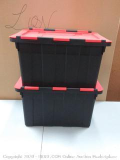 Storage Totes with Lids 2 Heavy Duty Stackable Plastic Containers