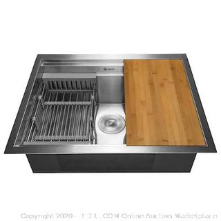 AKDY Handmade 25-in x 22-in Stainless Steel Single Bowl Undermount Residential Kitchen Sink All-in-One Kit (online $239)