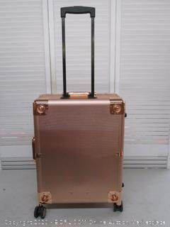 Kemier Makeup Case, Professional Artist Studio Cosmetic Train Table, Rolling Wheels & Lights (Retail $225)