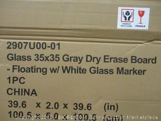 Glass gray Dry Erase Board Foating w/White glass Marker