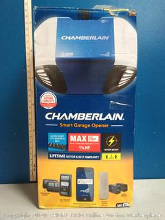 Chamberlain Group Chamberlain B970 Smartphone-Controlled Ultra-Quiet & Strong Belt Drive Garage Door Opener with Battery Backup and MAX Lifting Power, Blue (online $268)