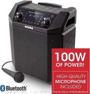 ION Audio Block Rocker Plus | 100W Portable Speaker, Battery Powered with Bluetooth, Microphone & Cable, AM/FM Radio, Wheels & Telescopic Handle and USB Charging For Smartphones & Tablets (online $159)