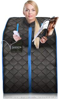 SereneLife Portable Infrared Home Spa One Person Sauna with Heating Foot Pad and Portable Chair (online $232)