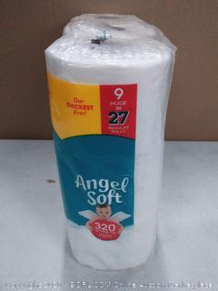 Angel Soft 320 + sheets per roll 9 rolls 2 ply