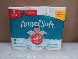 Angel Soft 320 + sheets per roll 9 rolls 2 ply