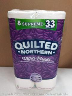 Quilted Northern ultra-plush 3-person and absorbent layers 8 rolls of toilet paper