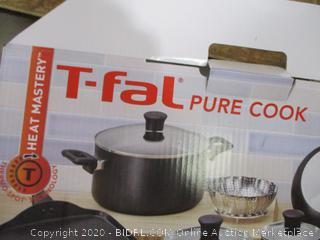 T fal- Pure Cook- Non Stick Cookware Set- Black ( missing steamer basket)