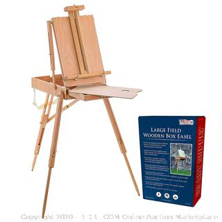 "French Easel 71"" Tall Wood Artist Sketchbox Floor Tabletop Storage (online $79)"