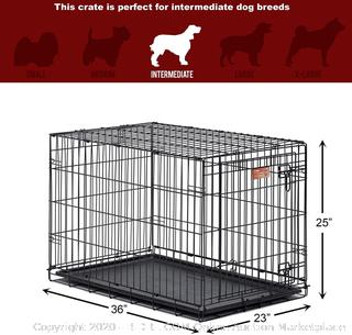 """MidWest Homes for Pets Dog Crate   iCrate Single Door & Double Door Folding Metal Dog Crates   Fully Equipped 36"""" (online $44)"""