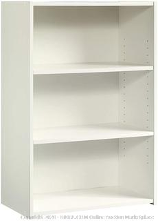 "Sauder 415541 Beginnings 3-Shelf Bookcase, L: 24.57"" x W: 11.5"" x H: 35.28"", Soft White finish Factory sealed box damaged come preview"