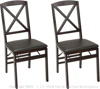 X-Back Wood Folding Chair Set of 2 Espresso/Black Fold Up (online $79)