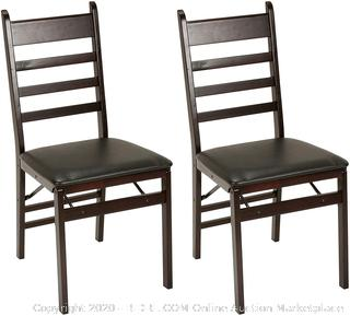 Cosco Wood Folding Chair with vinyl seat & Ladder Back, 2 pack, Espresso (online $89)