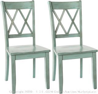 Ashley Furniture Signature Design - Mestler Dining Room Side Chair - Wood Seat - Set of 2 - Blue/Green (online $159)