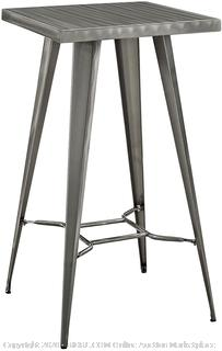 Modway Direct Rustic Modern Farmhouse Steel Metal Square Bar Table in Gunmetal (online $156)