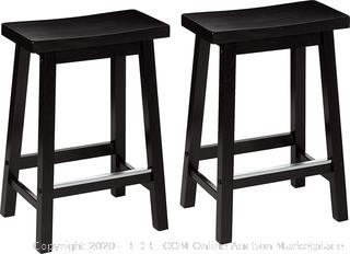 Classic Solid Wood Saddle-Seat Kitchen Counter Stool with Foot Plate 24 Inch, Black, Set of 2
