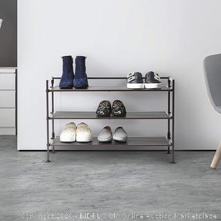 Seville Classics 3-Tier Stackable 9-Pair Woodgrain Resin Slat Shelf Sturdy Metal Frame Shoe Storage Rack Organizer, Perfect for Bedroom, Closet, Entryway, Dorm Room, Espresso Factory sealed box damaged come preview