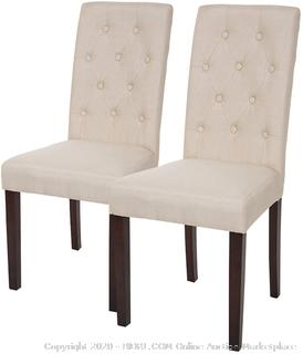 glitzhome clean white fabric dining chair with tufted back set of 2 (online $112)