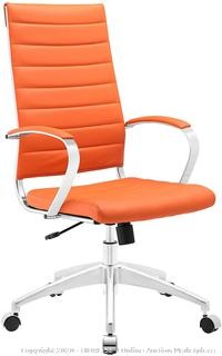 Modway Jive Ribbed High Back Tall Executive Swivel Office Chair With Arms In Orange (online $199)