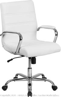 Mid-Back White Leather Executive Swivel Office Chair with Chrome