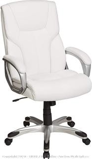 High-Back Executive Swivel Office Desk Chair - White with Pewter Finish (online $103)