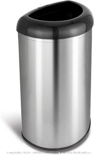 Open Top Office Bathroom Trash Can, 13 Gal 50L, Stainless Steel Base (online $42)