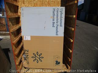 Upholstered Geometric Paneled  Platform Bed (Box Damage)