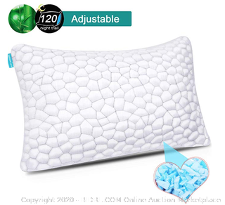 Shredded Memory Foam Pillows for Sleeping Cooling Gel Pillows Bamboo Pillow with Adjustable Height Hypoallergenic Sleeping Bed Pillows with Removable Cover Queen Size (Online $24)