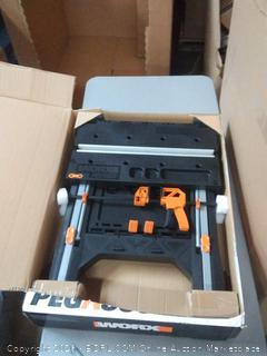 worx 300 pound portable work table clamping system and sawhorse