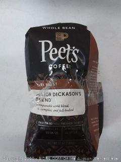 Peet's Coffee Major Dickason's Blend, Dark Roast Whole Bean Coffee, 12 Ounce Bag (2 bags)