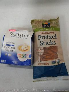 foodstirs modern baking minute mug cake mix and 365 everyday value organic crunchy pretzel sticks